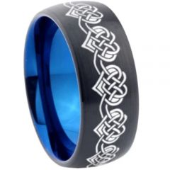 COI Tungsten Carbide Black Blue Heart Dome Court Ring-TG4575