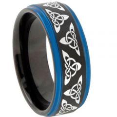COI Tungsten Carbide Black Blue Trinity Knots Ring-TG4579