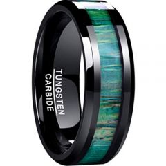 COI Black Tungsten Carbide Green Wood Beveled Edges Ring-TG4632