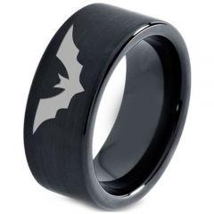 COI Black Tungsten Carbide Bat Pipe Cut Flat Ring-TG4661