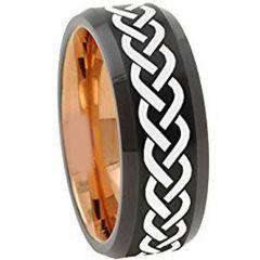 COI Tungsten Carbide Black Rose Celtic Beveled Edges Ring-TG4664