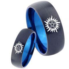 COI Tungsten Carbide Black Blue Supernatural Ring-TG4666