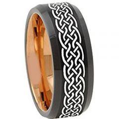 COI Tungsten Carbide Black Rose Celtic Beveled Edges Ring-TG4671