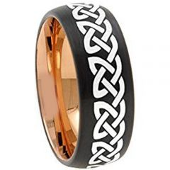 COI Tungsten Carbide Black Rose Celtic Dome Court Ring-TG4674