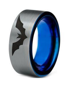 COI Tungsten Carbide Blue Silver Bat Pipe Cut Ring-TG4698