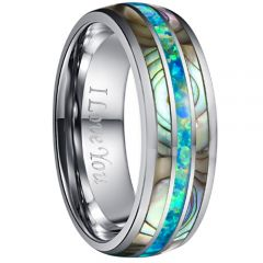 COI Tungsten Carbide Crushed Opal & Abalone Shell Dome Court Ring-4737