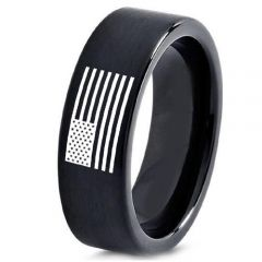 COI Black Tungsten Carbide Ring With American Flag-TG5010
