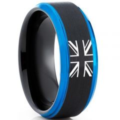 COI Tungsten Carbide Black Blue Ring With Britain Flag-TG5011