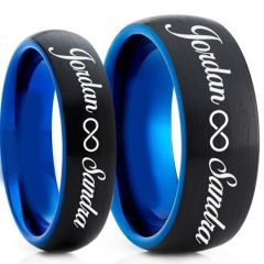 COI Tungsten Carbide Black Blue Ring With Custom Engraving-TG5017