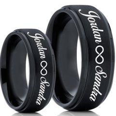 COI Black Tungsten Carbide Ring With Custom Engraving-TG5020