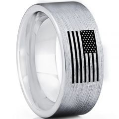 COI Tungsten Carbide Pipe Cut Ring With American Flag-TG5025