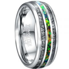 COI Tungsten Carbide Meteorite & Crushed Opal Dome Court Ring-TG5026