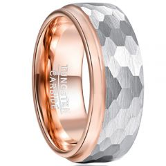 COI Tungsten Carbide Rose Silver Hammered Ring-TG5033