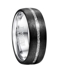 COI Tungsten Carbide Black Silver Meteorite Ring-TG5034