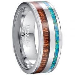 COI Tungsten Carbide Crushed Opal & Wood Pipe Cut Flat Ring-TG5039