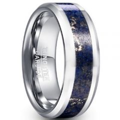 COI Tungsten Carbide Crushed Opal Beveled Edges Ring-TG5047