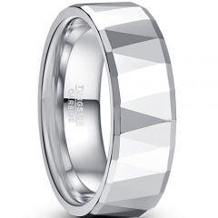 COI Tungsten Carbide Faceted Wedding Band Ring-TG5049