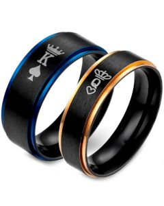 *COI Tungsten Carbide Black Blue/Rose King Crown Ring-TG5053