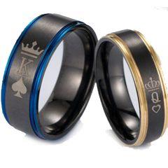 COI Tungsten Carbide Black Blue/Rose King Crown Ring-TG5053