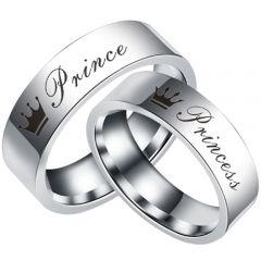 COI Tungsten Carbide Prince Princess Crown Flat Ring-TG5055