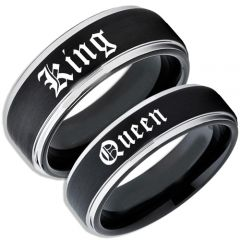 COI Tungsten Carbide Black Silver King Queen Ring-TG5060