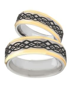 COI Tungsten Carbide Gold Tone Silver Celtic Ring-TG3079