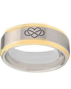 COI Tungsten Carbide Infinity Heart Step Edges Ring-TG5132