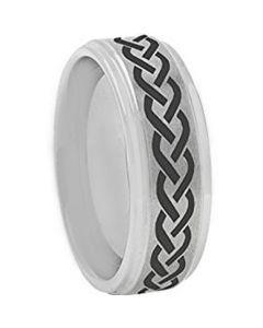 COI Tungsten Carbide Celtic Step Edges Ring-TG5161