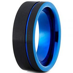 COI Tungsten Carbide Black Blue Offset Groove Ring-TG5103