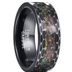 COI Black Tungsten Carbide Crushed Opal Hammered Ring-TG5190