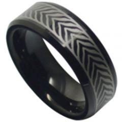 COI Black Tungsten Carbide Celtic Beveled Edges Ring-TG5186