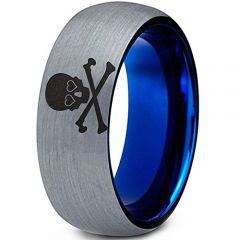 COI Tungsten Carbide Blue Silver Skull & Bones Ring-TG5113