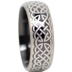 COI Tungsten Carbide Black Silver Celtic Dome Ring-TG5118
