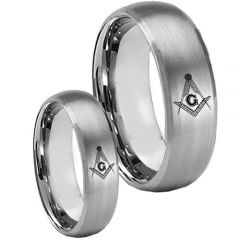 COI Tungsten Carbide Masonic Beveled Edges Ring-TG5126