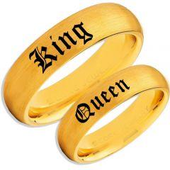 COI Gold Tone Tungsten Carbide King Queen Ring-TG5128