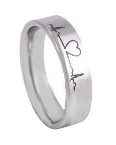 COI Tungsten Carbide Heartbeat & Heart Pipe Cut Ring-TG5175