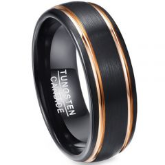 COI Tungsten Carbide Black Gold Tone Double Groove Ring-TG5142