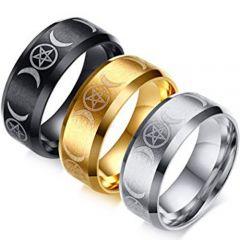 COI Tungsten Carbide Triple Moon Beveled Edges Ring-TG5148