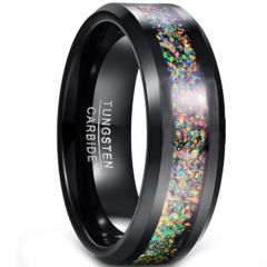 COI Black Tungsten Carbide Crushed Opal Beveled Edges Ring-TG5150
