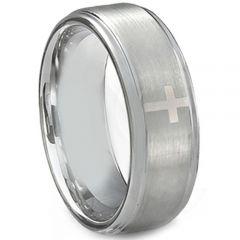 COI Tungsten Carbide Cross Step Edges Ring-TG5154