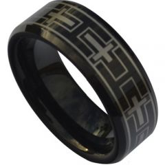 COI Black Tungsten Carbide Cross Beveled Edges Ring-TG5157