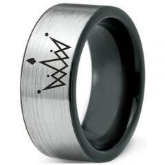 COI Tungsten Carbide Black Silver King Crown Ring-TG5163