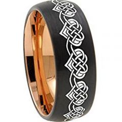 COI Tungsten Carbide Black Rose Heart Dome Court Ring-TG5164
