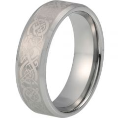 COI Tungsten Carbide Dragon Beveled Edges Ring-TG5214
