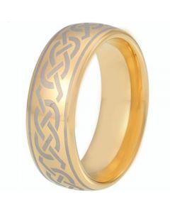 COI Gold Tone Tungsten Carbide Celtic Dome Court Ring - TG5215