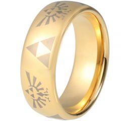 COI Gold Tone Tungsten Carbide Legend of Zelda Dome Court Ring - TG5216