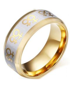 COI Tungsten Carbide Gold Tone Silver Gay Pride Beveled Edges Ring-TG5250