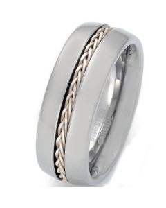 COI Tungsten Carbide Silver Inlays Pipe Cut Flat Ring With Wire-TG5658