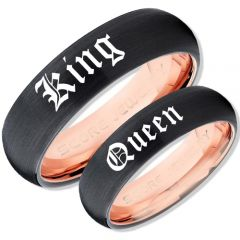 COI Tungsten Carbide Black Rose King Queen Ring-TG679