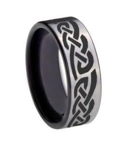 COI Tungsten Carbide Black Silver Celtic Ring-TG768